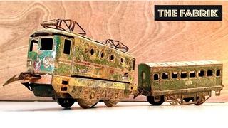 1954s Hornby model train - abandoned rusty locomotive - restoration