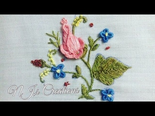 14-HAND EMBROIDERY   First time on youtube Brazilian embroidery  rose bud with new technique
