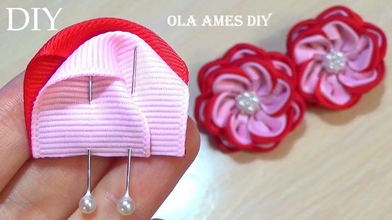 Посмотрите Какие Хорошенькие Получились ЦВЕТЫ из ЛЕНТ ЛЕГКО! Flores de Fita Ola ameS DIY