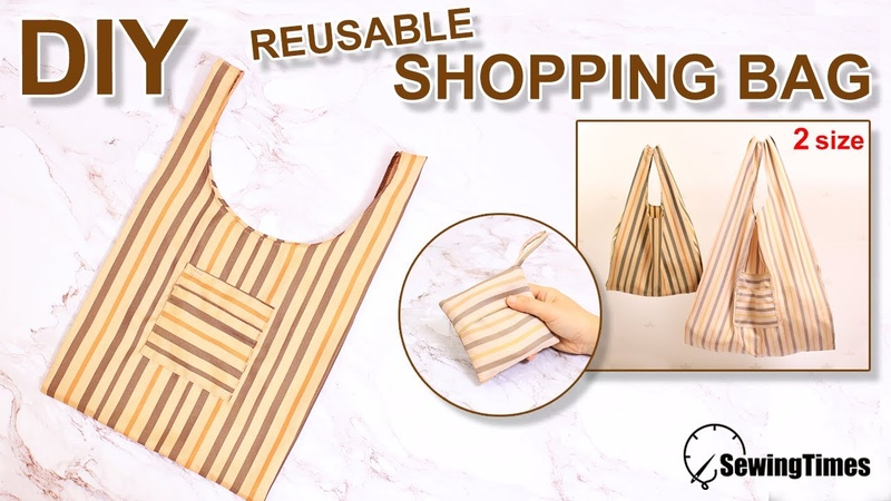 DIY REUSABLE GROCERY BAG How to make Foldable Shopping Bag Tutorial for 2 sizes sewingtimes