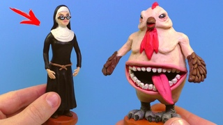 Злая МОНАХИНЯ 2 и Курица Мутант из игры Evil Nun 2: Origins | Видео Лепка