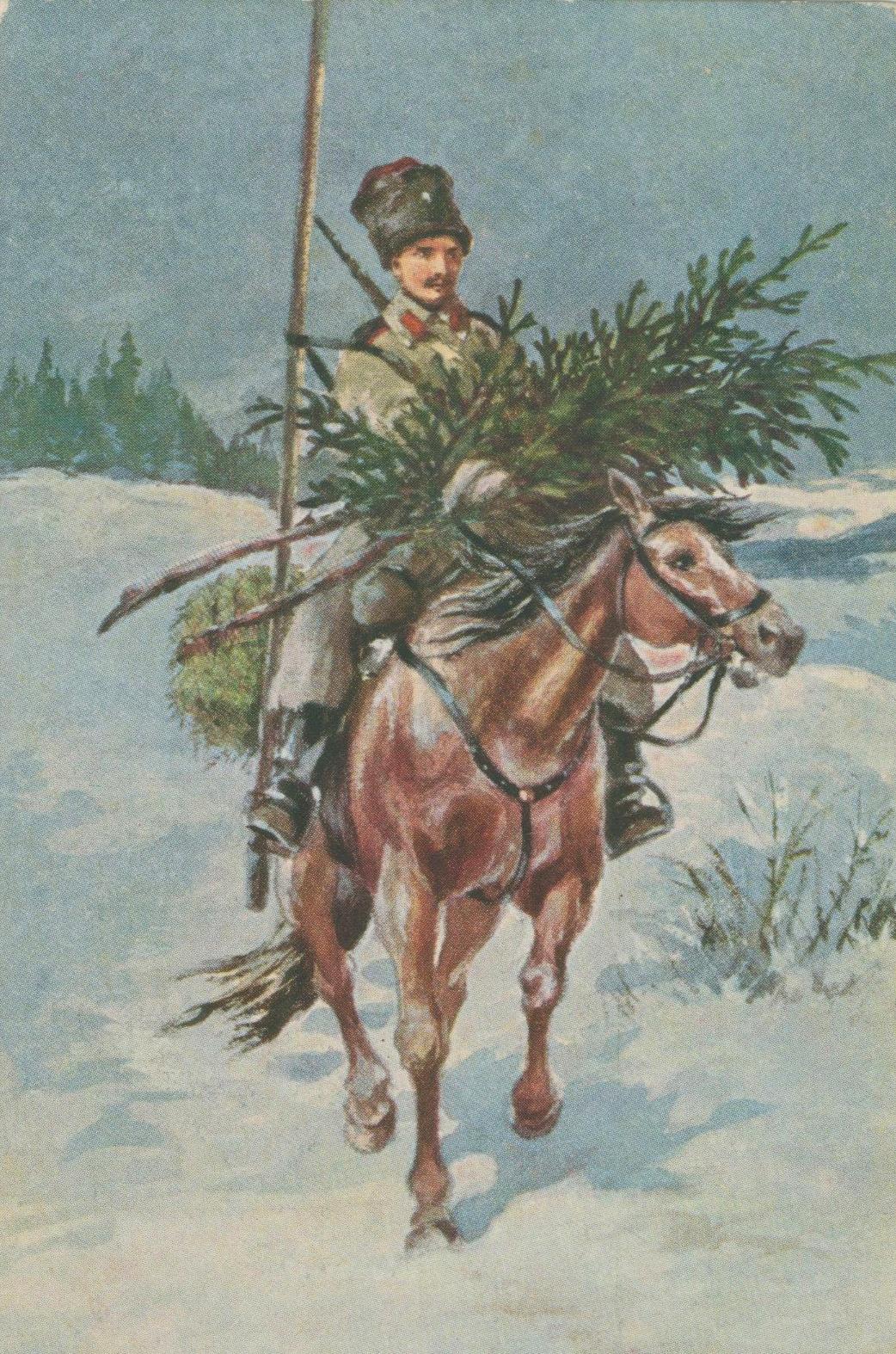 Рождественские дореволюционные открытки, изображение №36