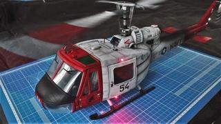 "Модель вертолета Bell-204 USA с моторами и светодиодами ""Hobby Boss"" 1:18 /Helicopter UH-1 Huey B/"