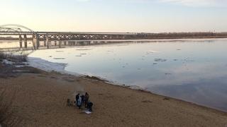 На берегу реки Волга / Ледоход в апреле 2021 года / Нижний Новгород