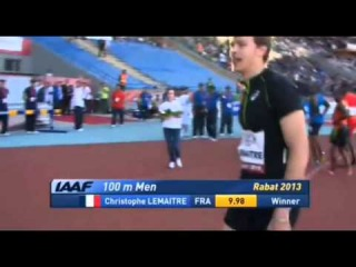 Amazing Comback Christophe Lemaitre  defeats Justin Gatlin 1002 IAAF World Challenge Rabat 2013