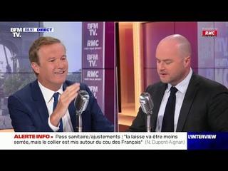 Echange très tendu entre Nicolas Dupont-Aignan et Philippe Corbé en direct sur RMC