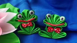 Kanzashi ribbon frog/ Homemade decoration/ Fridge magnet/ Decoration Ideas/ DIY