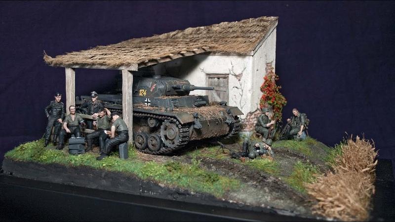135 WW2 Diorama (Full build with realistic scenery) - Cyber hobby Pz III Ausf H