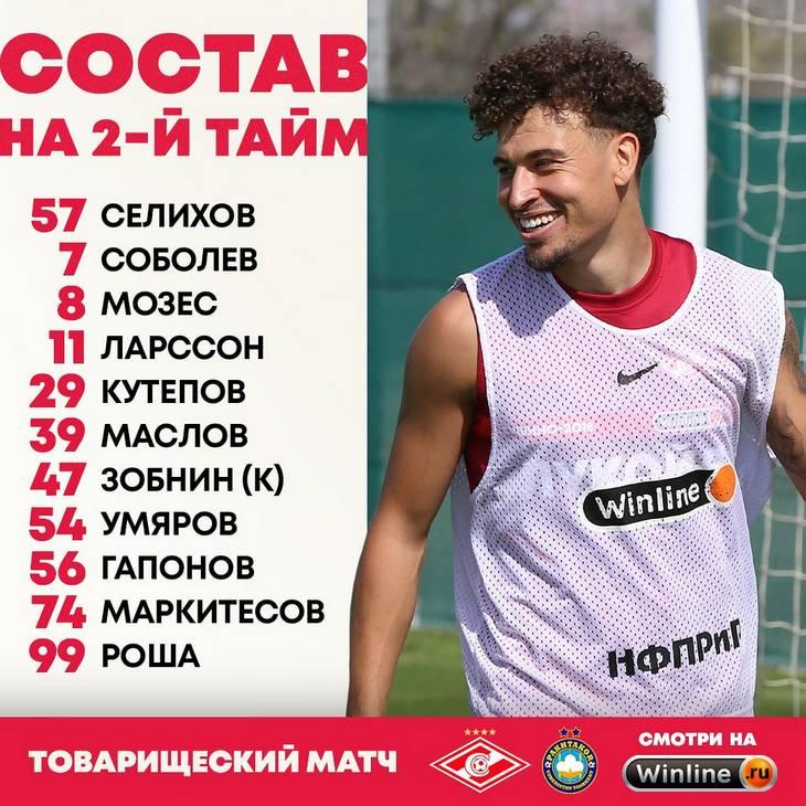 Состав «Спартака» на 2-й тайм товарищеского матча с «Пахтакором»