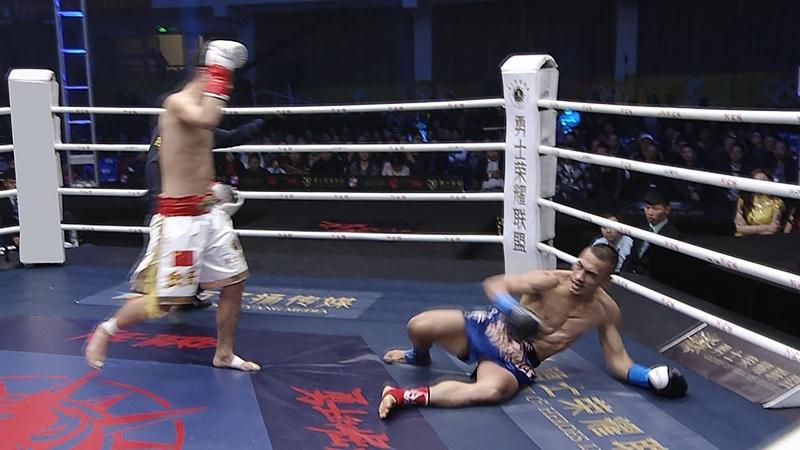 Chinas Knee Jumping King Yun QI, punching KO's Philippine national opponent