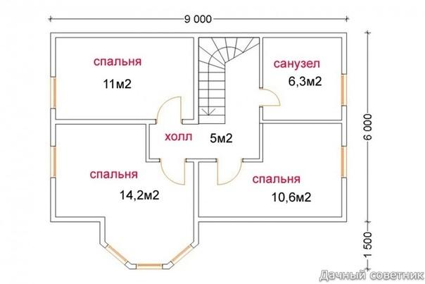 Проект двухэтажного дачного домика.