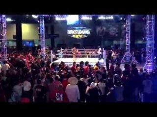 WWE Divas Eve and Layla surprise Timbaland at WrestleMania Axxess!