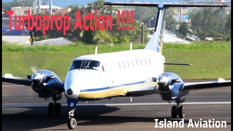 Lovely Turboprops in action Beech 1900 Saab 340 Twin Otter ATR 42 600 @ St Kitts Airport
