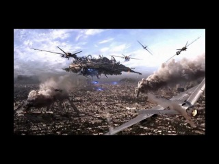 Skyline Nuke Scene with Predator Drones and Stealth Bomber Fighter UAV