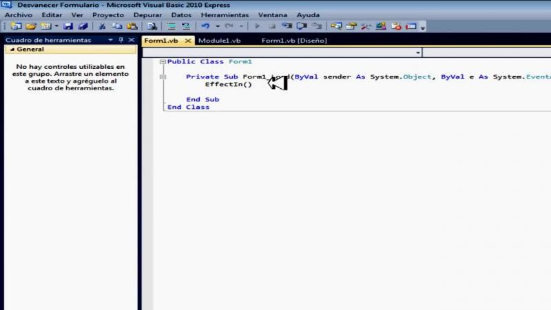 Efecto Visual en Visual Basic 2010 [Desvanecer Formulario]