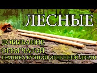 Добывание огня чагой: метод ручной дрели
