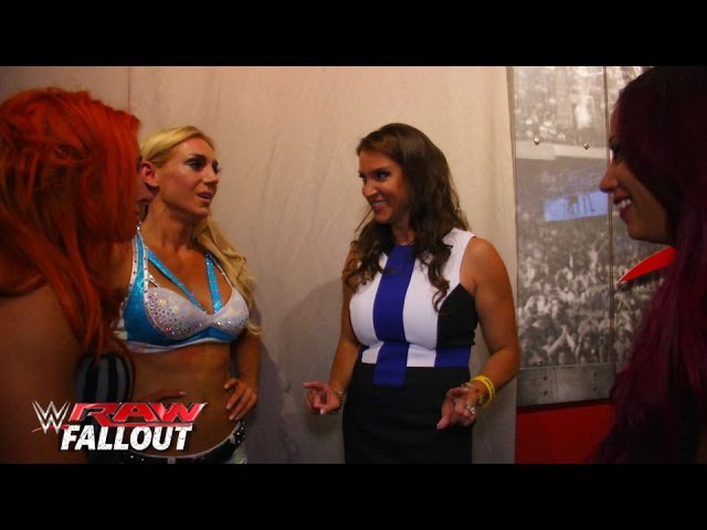 SBMKV Video Stephanie McMahon congratulates the NXT Divas on their Raw debut Raw Fallout July 14 2015
