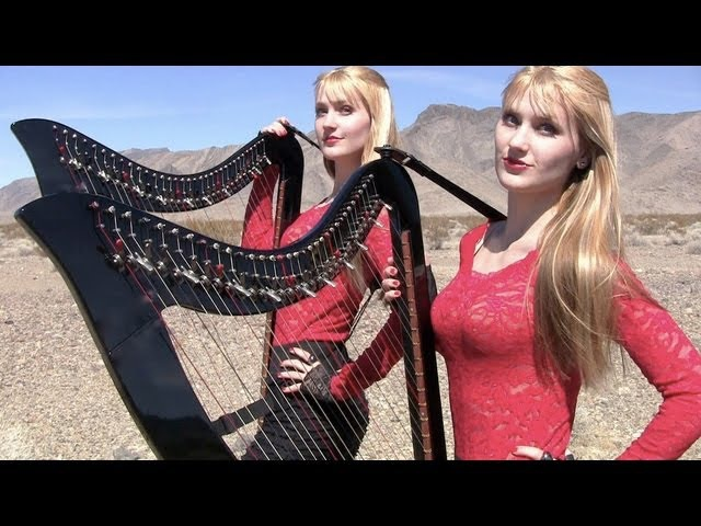 HIGHWAY TO HELL AC DC Harp Twins Camille and Kennerly HARP ROCK METAL