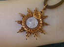 Sun pendant from copper and pink quartz DIY wire jewelry 215