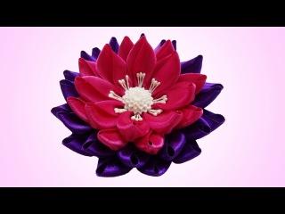 DIY kanzashi flower, Lotus kanzashi flower tutorial