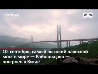 Строительство самого высокого в мире моста завершилось в Китае