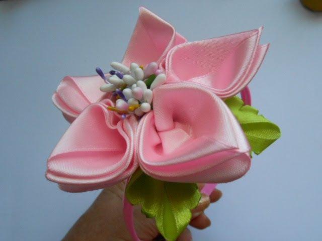 Цветок из атласной ленты МК DIY Flower of satin ribbon Flor Tutorial de fita de cetim 65