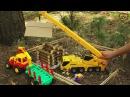 Мультик на английском. Машинки, Трактор с прицепом-лесовоз, Экскаватор. МанкиМу