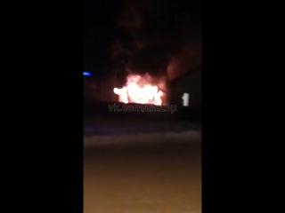 Пожар в Субханкулово, гараж кулинарии вместе с газелью
