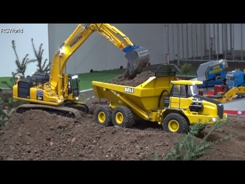 RC Construction Site Excavator Dozer Dumper Baustelle Bagger ♦ Erlebniswelt Modellbau Kassel 2016