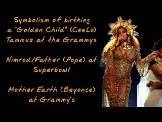 """Symbolism of birthing a """"Golden Child"""" at Grammys w/ Beyoncé, CeeLo Green, & the Oroville Dam"""