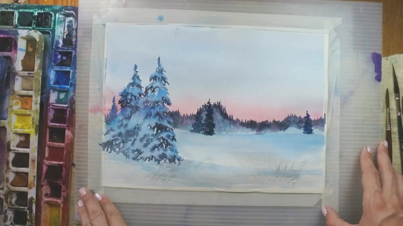 7 Sunrise Snow Scene in Watercolour Angela Fehr