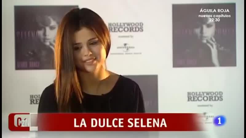 Selena Gomez entrevistada antes de su concierto en Madrid.