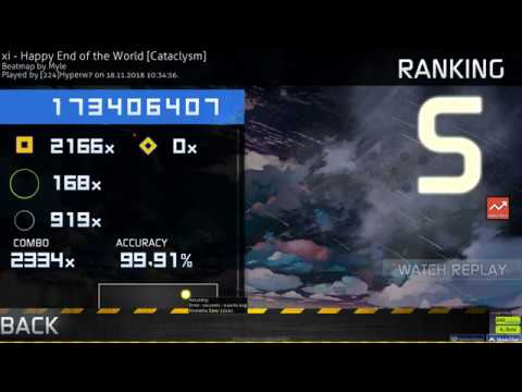 Osu catch 224 Hyperw7 xi Happy End of the World Cataclysm HR 99 91% FC 1 724pp