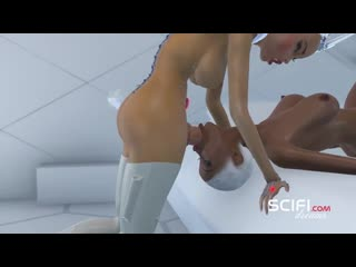 Sci-fi desire. hot 3d shemale queen fucks black girl in the space station