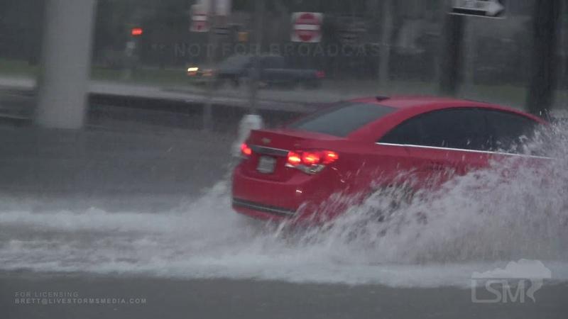 09 18 19 Baytown Texas Treacherous Flash Flooding Stalled Cars Feet Of Water On Road
