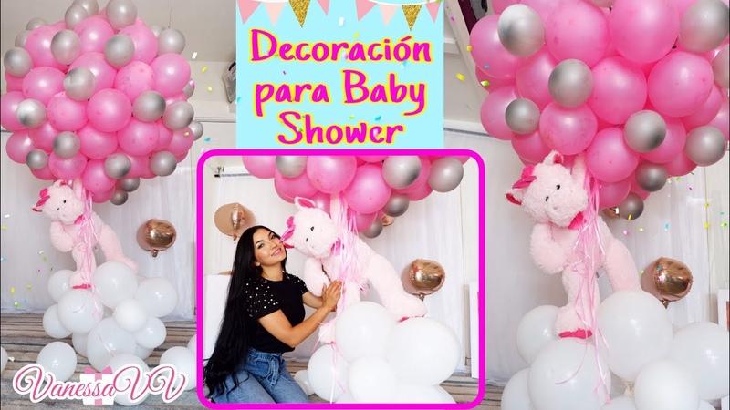 DECORACION CON GLOBOS PARA BABY SHOWER O PRIMER CUMPLEAÑOS/PELUCHE FLOTANTE/