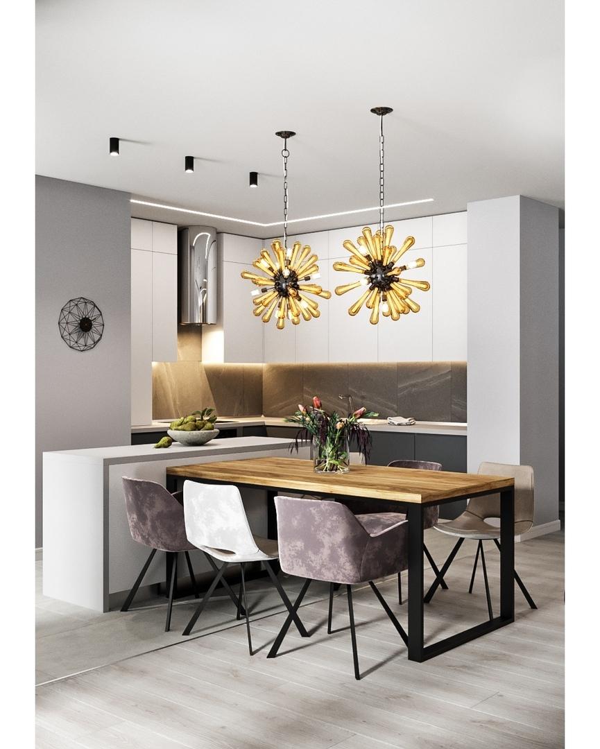 Кухня и гостиная в сером цвете