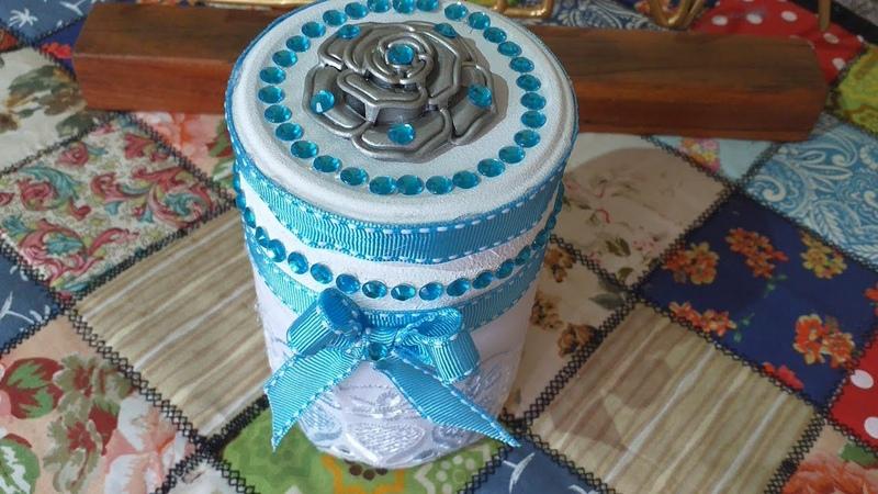 Potinho de vidro decorado Recicle e Decore
