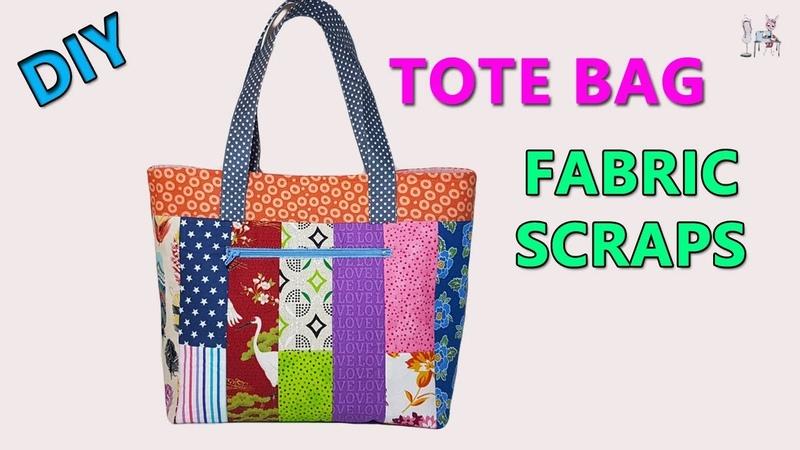 DIY TOTE BAG   DIY BAG FROM FABRIC SCRAPS   BAG SEWING TUTORIAL   FABRIC SCRAPS IDEAS