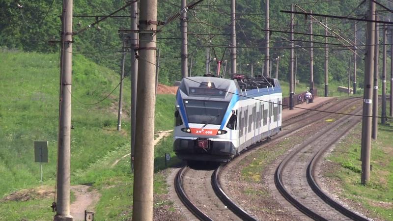 Электропоезд ЭПр 006 на о п Птичь EPr 006 EMU at Ptich stop