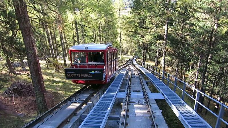 Standseilbahn 7503.01 Punt Muragl - Muottas Muragl Talfahrt - Funicular