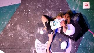 Janja Garnbret and Shauna Coxsey. IFSC Climbing World Cup Moscow 2019 - Bouldering Finals