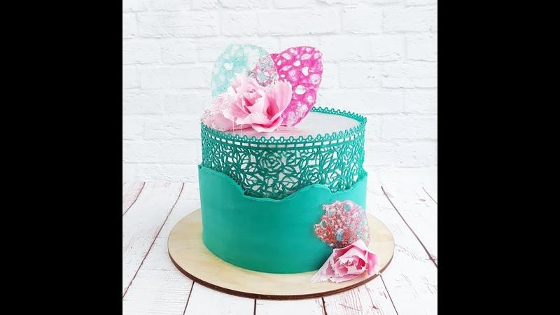 Гибкий айсинг. Торт с кружевом.\ Flexible icing. Cake with lace.