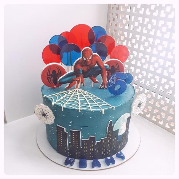 них торт с сахарной картинкой человек паук фото виталием