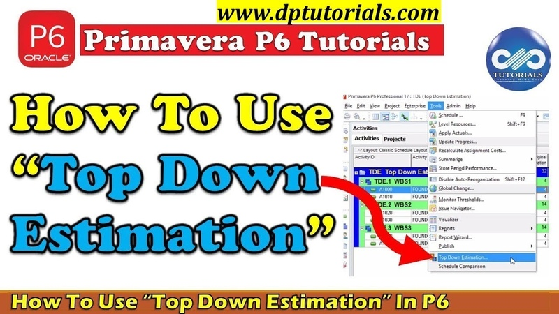 How To Use Top Down Estimation In Primavera P6 To Calculate Labor Units Required dptutorials