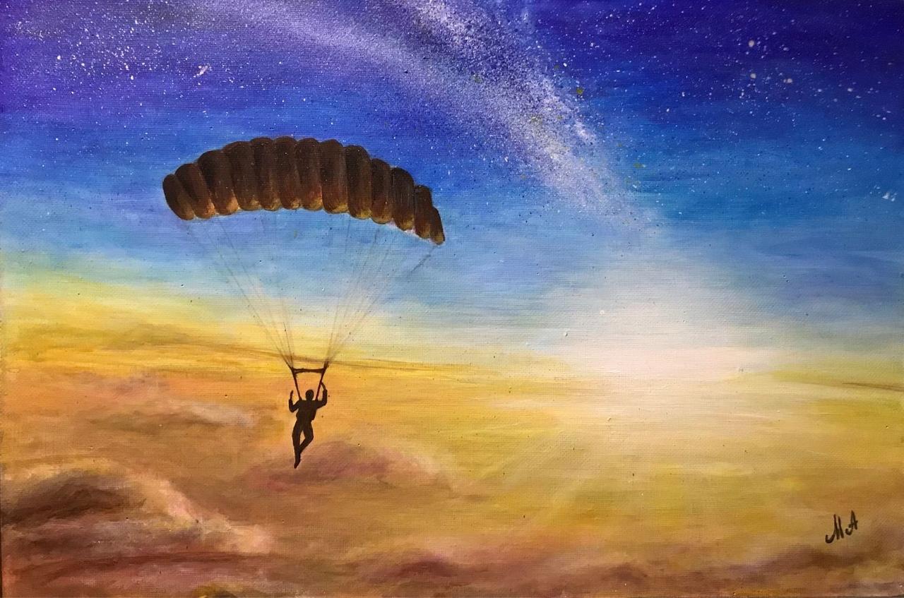 рисунок парашютисты в небе