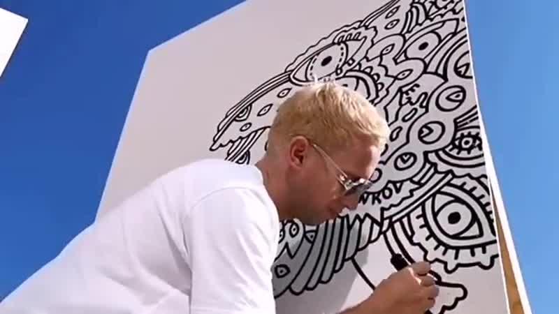 Арт-объект на курорте Роза Хутор: стена-раскраска