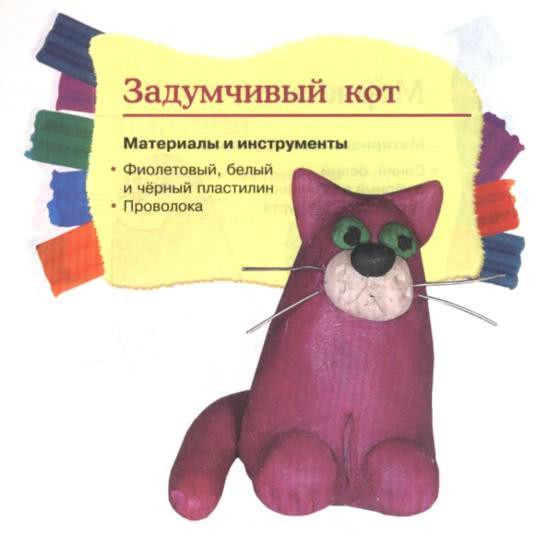 Простые поделки из пластилина - Задумчивый кот 1. Слепите из фиолетового пластилина огурец, примните его снизу о поверхность стола. Прикрепите треугольные ушки, белые щёчки, чёрные шарики-глаза