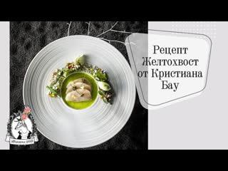 Мк с рецептом от Кристиана Бау! Желтохвост в цитрусовом маринаде с текстурами огурца, понзу гелем и устричным кремом.