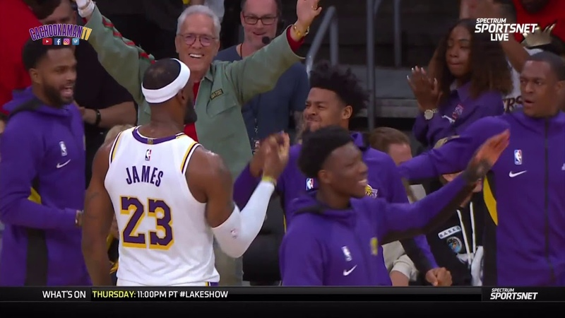 LeBron James Over The Shoulder To Danny Green - Warriors vs. Lakers - October 16, 2019
